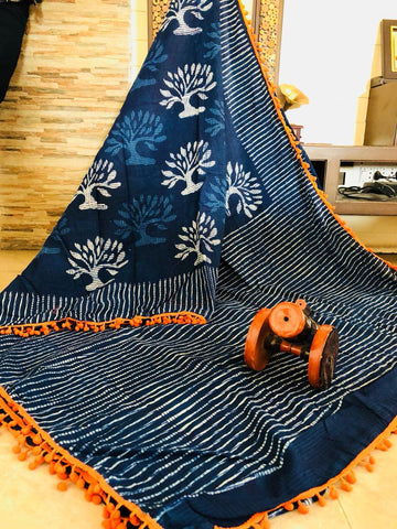 LPIS52- baghru  printed malmal indigo cotton saree with pompom border
