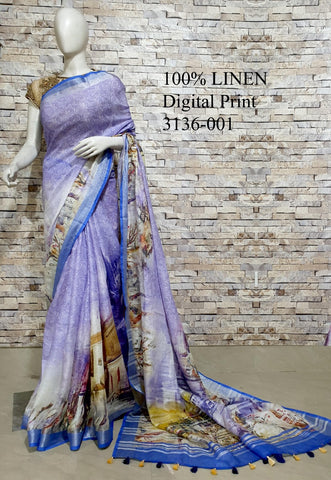 DPL53-Multi colour handloom digital printed linen saree with blouse