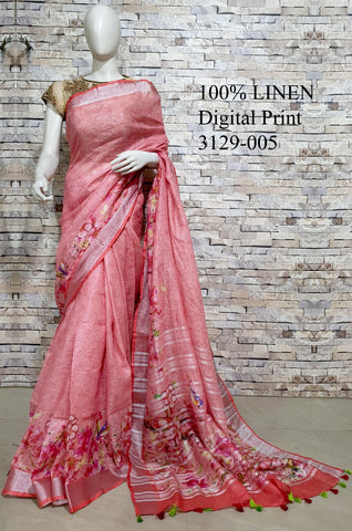 DPL54-Multi colour handloom digital printed linen saree with blouse