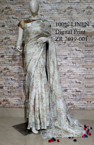 DPL55-Multi colour handloom digital printed linen saree with blouse