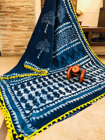 LPIS55- baghru  printed malmal indigo cotton saree with pompom border