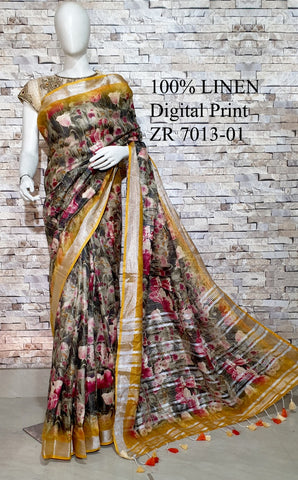 DPL56-Multi colour handloom digital printed linen saree with blouse