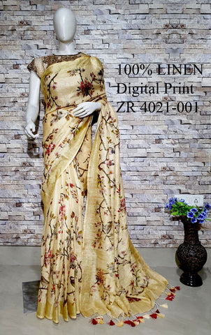 DPL57-Multi colour handloom digital printed linen saree with blouse