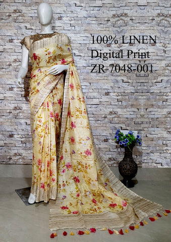 DPL58-Multi colour handloom digital printed linen saree with blouse