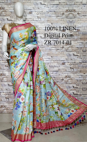 DPL59-Multi colour handloom digital printed linen saree with blouse