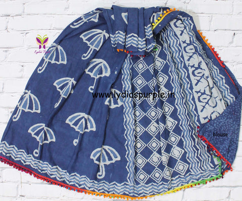 LPISPO5- baghru block printed indigo malmal cotton saree with pmpom borders - Lydiaspurple