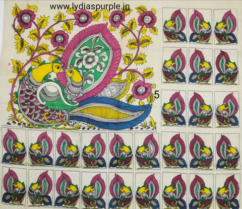 PKPS05-Pen kalamkari patch for saree - LydiasPurple
