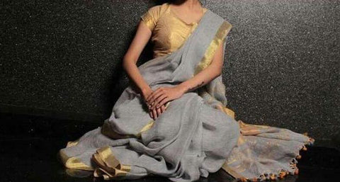 BHGGZLS-grey linen saree with golden zari border border border