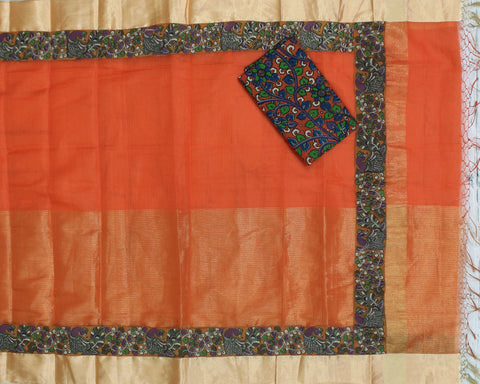 tissue kota saree with kalamkari border - lydiaspurple