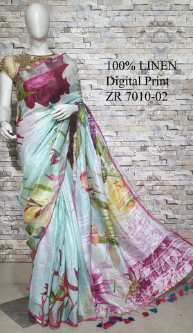 DPL60-Multi colour handloom digital printed linen saree with blouse