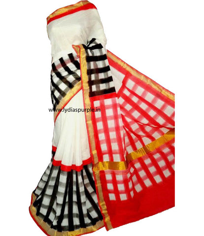 KHPDRWB01-Kerala hand block print RED,Black and white saree - LydiasPurple