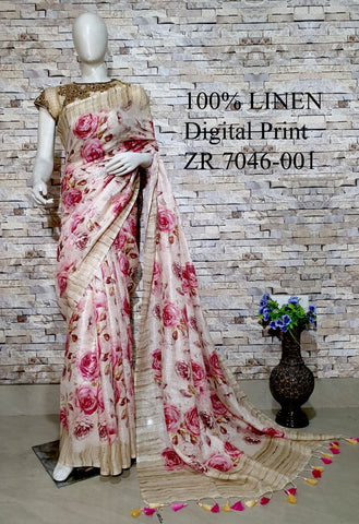 DPL61-Multi colour handloom digital printed linen saree with blouse