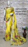 DPL62-Multi colour handloom digital printed linen saree with blouse