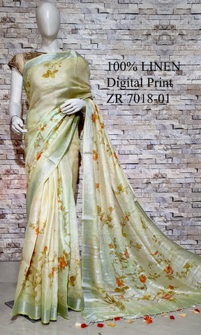 DPL63-Multi colour handloom digital printed linen saree with blouse
