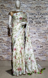 DPL64-Multi colour handloom digital printed linen saree with blouse