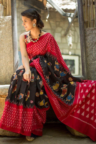 RKIKPMCS01-black and red ikkat and kalamkari printed,malmal cotton saree with designer blouse