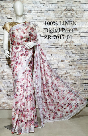 DPL66-Multi colour handloom digital printed linen saree with blouse