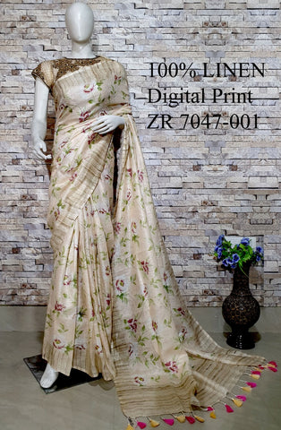 DPL68-Multi colour handloom digital printed linen saree with blouse