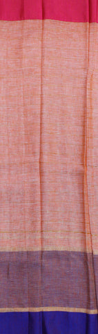 SZLPE06-zari stripes linen saree with double side dupion border