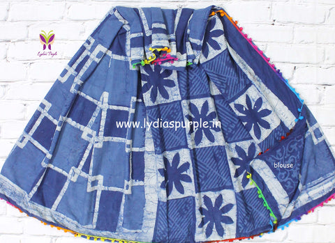 LPISPO6- baghru block printed indigo malmal cotton saree with pmpom borders - Lydiaspurple