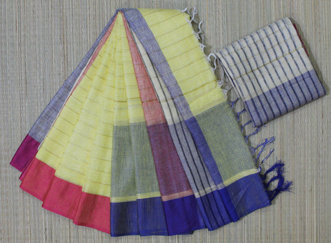 SZLBY07-zari stripes linen saree with double side dupion border