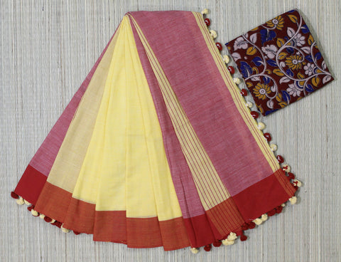 Biscuit color khadi cotton saree with kalamkari blouse - Lydiaspurple