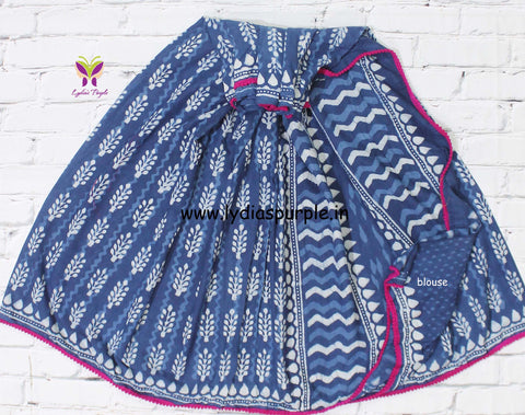 LPISPO7- baghru block printed indigo malmal cotton saree with pmpom borders - Lydiaspurple