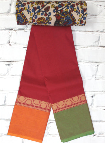 chettinad cotton saree with motif thread border