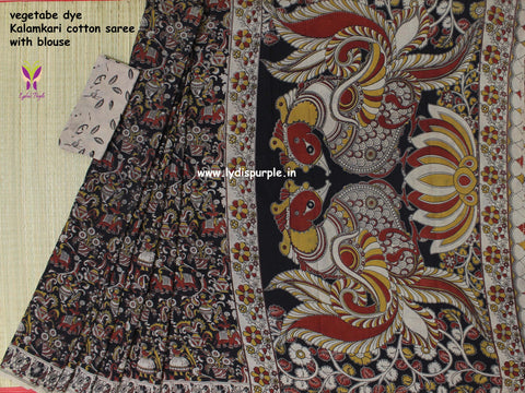 LPKCS09- vegetable dye kalamkari cotton saree - Lydiaspurple