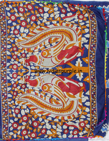 LPISPO9- baghru block printed indigo malmal cotton saree with pmpom borders - Lydiaspurple