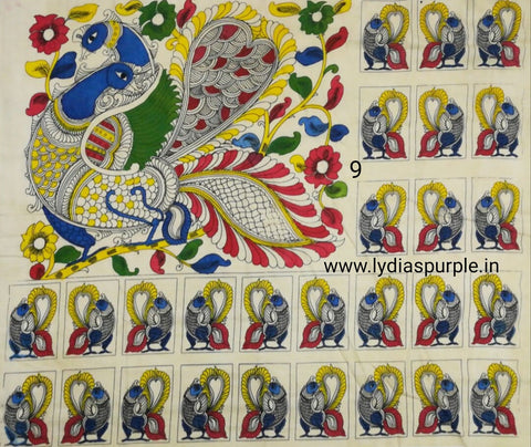 PKPS09-Pen kalamkari patch for saree - LydiasPurple
