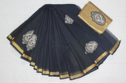KCKASTB- kota cotton kalamkari applique work saree with running blouse and tissue blouse