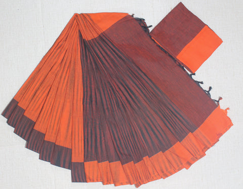 STKD06 -handloom khadi ikkat cotton half and half saree with blouse