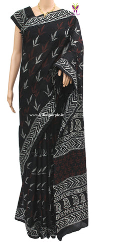 BLMP- baghru block printed malmal cotton saree - LydiasPurple