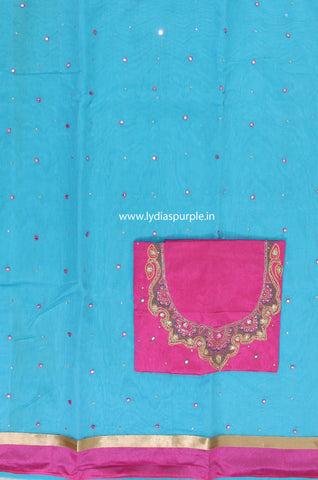 SMBBP01-Supernet  mirror work saree and paired with  maggam work blouse - LydiasPurple