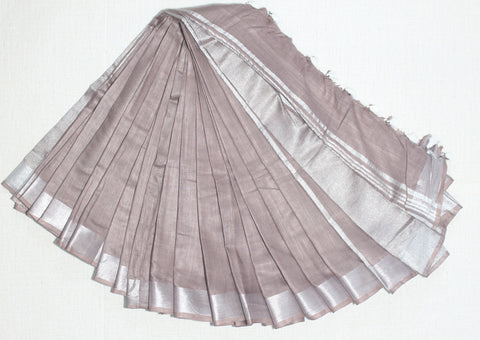 BSC07- handloom khadi cotton saree with silver zari border with running blouse
