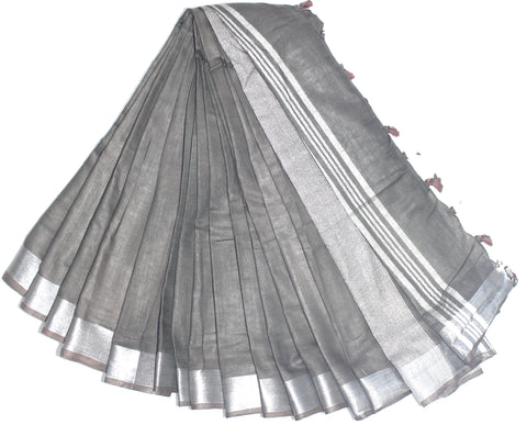 BSC08- handloom khadi cotton saree with silver zari border with running blouse