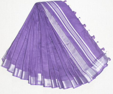 BSC11- handloom khadi cotton saree with silver zari border with running blouse