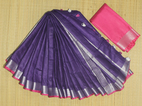 BSC14- handloom khadi cotton saree with silver zari border with contrast blouse
