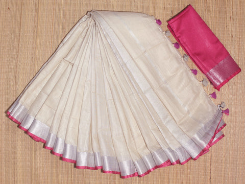 BSC17- handloom khadi cotton saree with silver zari border with contrast blouse