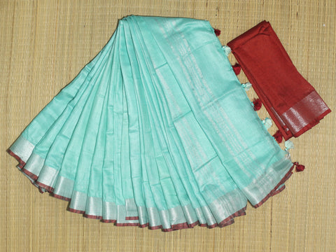 BSC18- handloom khadi cotton saree with silver zari border with  contrast blouse