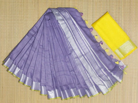 BSC 22- handloom khadi cotton saree with silver zari border with  contrast blouse