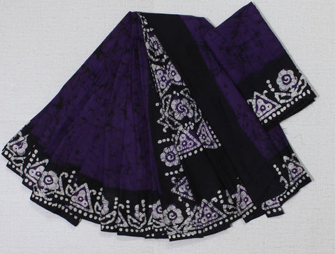 CBPMCS01-crack bathik purple cotton malmal  saree