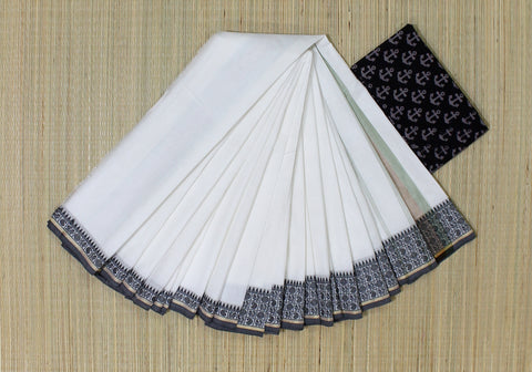 black and white soft chettinad cotton saree - lydiaspurple