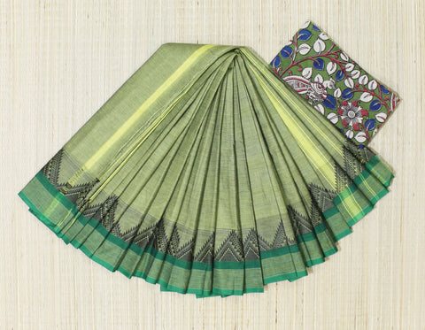 Mehendi green soft chettinad cotton saree with kalamkari blouse