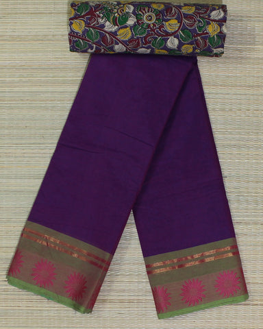 Chettinad cotton saree online with kalamkari blouse