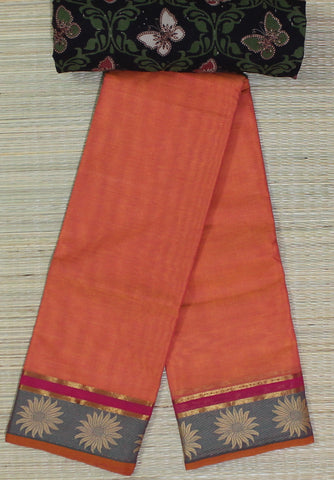 orange soft chettinad cotton saree with kalamkari blouse