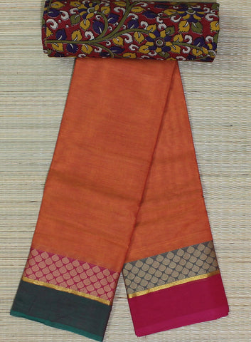 orange soft chettinad cotton saree