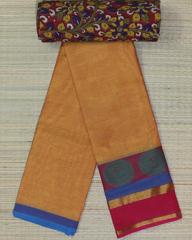 mustard yellow soft chettinad saree with kalamkari blouse