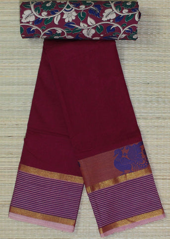 rani pink soft chettinad cotton saree with kalamkari blouse